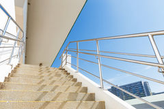 Cement staircase. With clear blue sky Royalty Free Stock Image