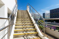 Cement staircase. Under clear blue sky Stock Images