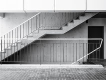 Cement stairs with Concrete wall Modern Architecture Details Stock Photos