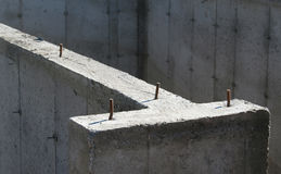 Cement Structure. A closeup of the cement foundation of a new housing development Stock Photo