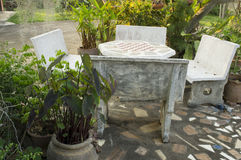 Cement table top garden park relax green concept Stock Photography