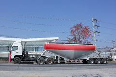 Cement Tank Cargo Truck Stock Photo