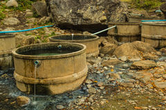 Cement tanks. For immersion at chiangdow hot spring Royalty Free Stock Images