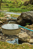 Cement tanks for immersion at chiangdow hot spring Stock Photos