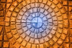 Cement tiles floor. Rough textured stone tiles, exterior walkway,. Perspective view Stock Image