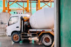 Cement truck of Cement batching plant factory. At loading area royalty free stock photo
