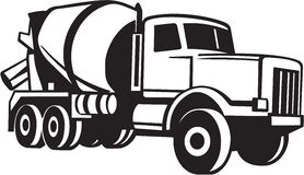 Cement Truck Illustration. Line Art Illustration of a Cement Truck Royalty Free Stock Image