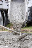 Cement Truck Pour Stock Photo