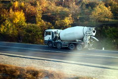 Cement truck on the way. To the building site Stock Images