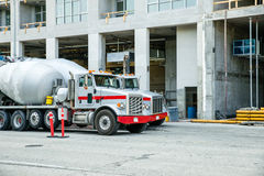 Cement trucks at construction site Royalty Free Stock Images