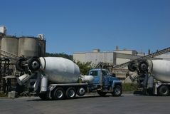 Cement trucks loading Stock Photos