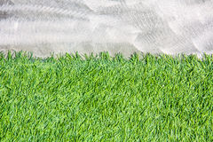 Cement wall with artificial grass background Stock Photography