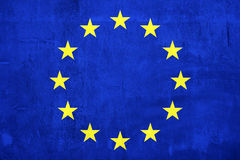 Cement wall paint Euro flag Royalty Free Stock Images