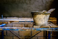 Cement wall plastering equipment royalty free stock images