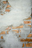 Cement wall show red brick Stock Image