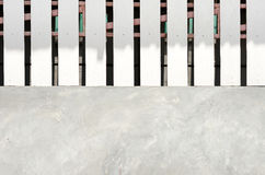 Cement wall and wood strips upper wall Royalty Free Stock Photos