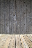 Cement wall and wooden walkway Royalty Free Stock Photos