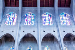 Cement Walls and Arches with Stained Glass Stock Photography