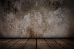 Cement walls and old wooden floors. Royalty Free Stock Images