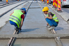 Cement workers Stock Photos