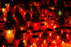Cementary candles at night mac Stock Image