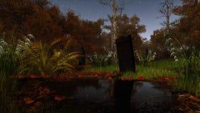 Cementerio abandonado en bosque asustadizo de la noche libre illustration
