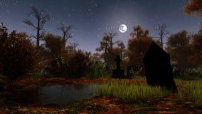 Cementerio abandonado en bosque fantasmagórico de la noche stock de ilustración