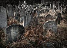 Cementerio antiguo con muchas lápidas mortuorias con colores silenciados Imagen de archivo