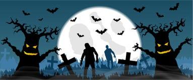 Cementerio asustadizo con los zombis y la Luna Llena Fotos de archivo
