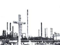 Cementerio con crucifijo Imagen de archivo