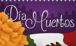Cementerio con la maravilla y la bandera mexicana ilustración del vector