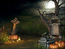 Cementerio con las decoraciones de Halloween Fotografía de archivo libre de regalías