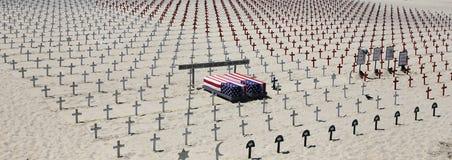 Cementerio conmemorativo en la playa de Santa Monica, California Foto de archivo libre de regalías