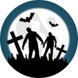 Cementerio de Halloween con caminar absolutamente Imagen de archivo