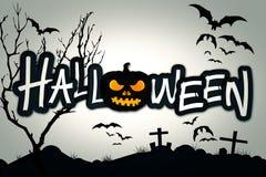 Cementerio de la noche de la calabaza del negro de Halloween Fotos de archivo