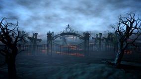 Cementerio de la noche del horror, sepulcro Claro de luna Concepto de Víspera de Todos los Santos representación 3d Fotografía de archivo libre de regalías