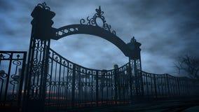 Cementerio de la noche del horror, sepulcro Claro de luna Concepto de Víspera de Todos los Santos representación 3d Imagen de archivo