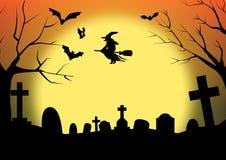 Cementerio de la sombra de la silueta de Halloween Imagen de archivo libre de regalías