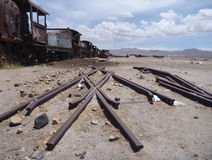 Cementerio de los trenes in uyuni Royalty Free Stock Photo