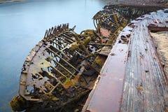 Cementerio de naves en el norte más allá del Círculo Polar Ártico Fotografía de archivo