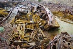 Cementerio de naves en el norte más allá del Círculo Polar Ártico Imagen de archivo libre de regalías