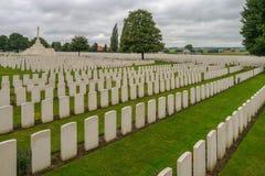 Cementerio de Tyne Cot WW1 cerca de Ypres fotografía de archivo libre de regalías