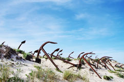 Cementerio del ancla en la playa de Barril Fotos de archivo
