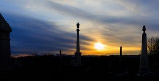 Cementerio del este de Greenbush sobre la mirada de las montañas de Catskill Fotografía de archivo libre de regalías