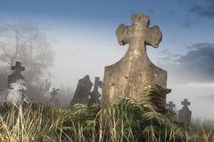 Cementerio en niebla Imagen de archivo