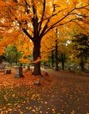 Cementerio en otoño Foto de archivo libre de regalías