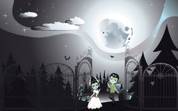 Cementerio fantasmagórico de Halloween libre illustration