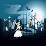 Cementerio fantasmagórico de Halloween stock de ilustración