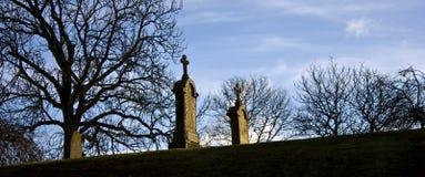 Cementerio frío y amargo del autum Fotografía de archivo libre de regalías