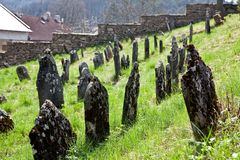 Cementerio judío en Nova del ¡de Lomnice u TiÅ Imagenes de archivo